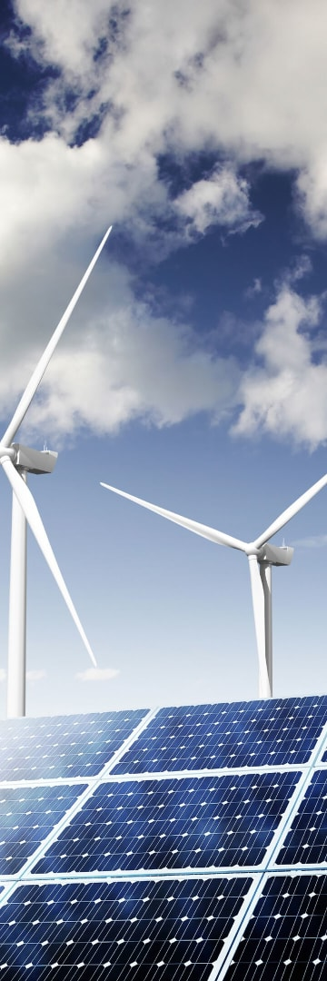 Clean energy, solar panels and wind turbines