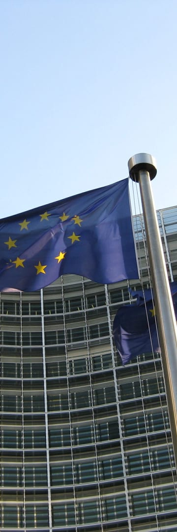 European Commission Building Flying EU Flags