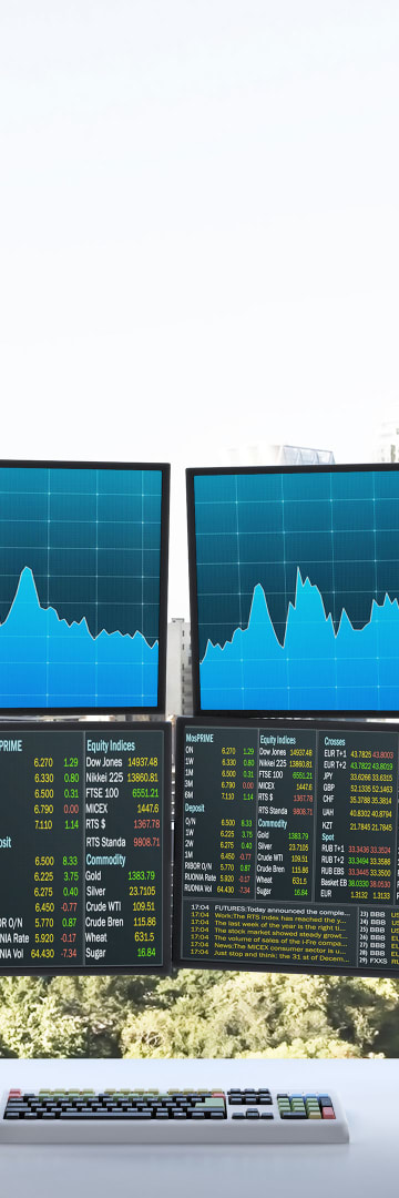 Mergers & Acquisitions, office monitors with charts
