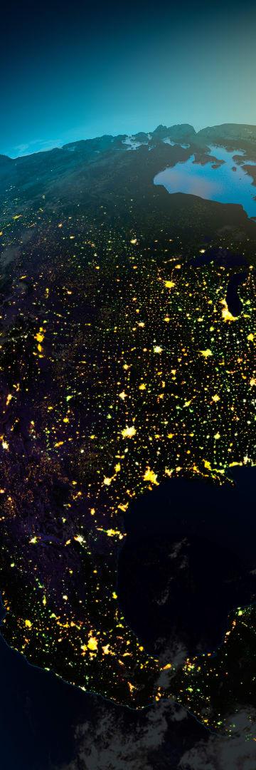 North America Regions North America Map Light Up