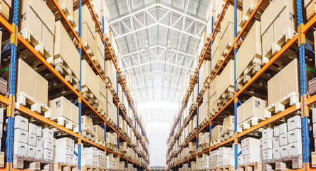 Warehouse with boxes, online retail