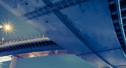 View from underneath the Rainbow Bridge loop in Minato, Tokyo, Japan