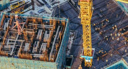 Construction site, building, digging site, crane