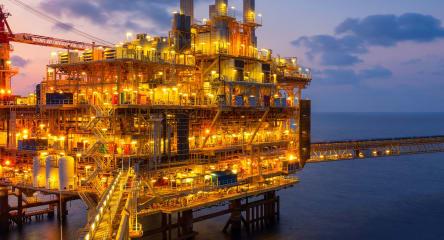 Offshore petroleum platform in oil industry.