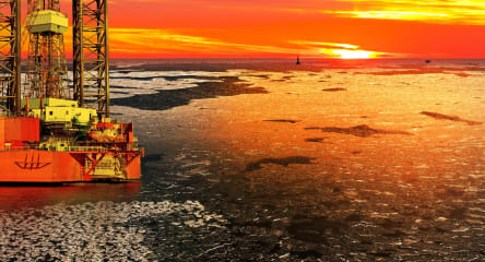 Oil drilling rig at sea, oil and gas industry, energy industry