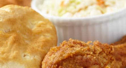 Fast food, fried chicken, biscuits, cole slaw