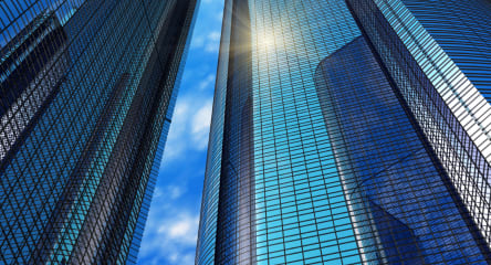 Financial Institutions Advisory & Financial Regulatory, Modern Blue Reflective Office Buildings