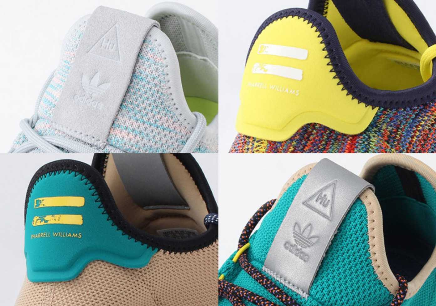 Four New Colourways Of The Pharrell x adidas Tennis Hu