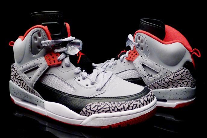 Air Jordan Spizike Wolf Grey - Gym Red