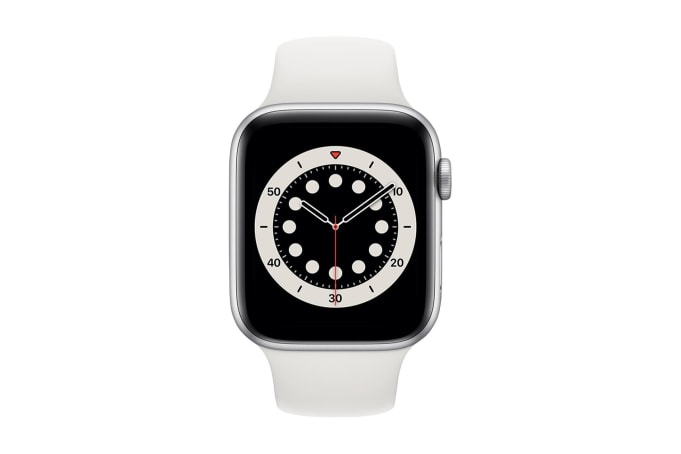 Apple Watch Series 6 44mm Silver Aluminium Case with White Sport Band  - default