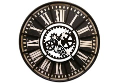 "Buy this discounted product Large Wall Clock with Decorative Gear Look Black 32"" Quartz movement on Amazon"