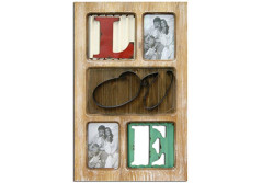 Buy this discounted product Love Decorative Wooden Photo Collage 14 x 22 x 1 Inches With 3D Metal Letters on Amazon