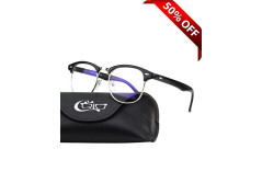 Buy this discounted product CGID CT56 Horn Rimmed Clubmaster Blue Light Blocking Glasses,Better Sleep,Anti Glare Fatigue Blocking Headaches Eye Strain,Great for Cell Phone Readers,Black Frame,Transparent Lens on Amazon