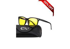 Buy this discounted product CGID CY82 Horn Oversized Blue Light Blocking Glasses,Better Sleep, Anti Glare Fatigue Blocking Headaches Eye Strain,Safety Glasses for Computer/Phone/Kindle,Vintage Bold Black Frame,Yellow Lens on Amazon