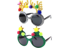 Buy this discounted product Christmas Sun Glasses Costume Accessory Novelty Glitter Xmas Tree and Reindeer Antler Sunglasses on Amazon