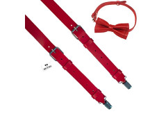 Buy this discounted product Leather suspenders set red color with bow tie unisex adult Y-back 2.5 cm wide - Many colors (Body height: 178-185 cm, Red) on Amazon