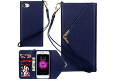 Buy this discounted product Iphone 7 Wallet Case Reenuo Envelope Flip Handbag Shell Women Wallet PU Leather Magnetic Folio Cover Cases with Credit Card ID Holders Wrist Strap for Apple Iphone 7 4.7inch Blue on Amazon