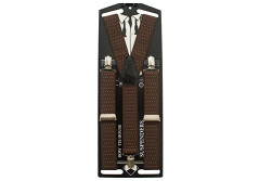 Buy this discounted product Men`s Brown dots suspenders Straight Clip Trousers Braces Elastic Y-Back 35mm on Amazon