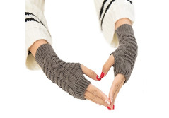 Buy this discounted product Fingerless Gloves Short Sleeve Crochet Arm Warmers Knitting Pattern Winter Gloves For Women and Girls (Khaki) on Amazon