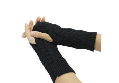 Buy this discounted product Fingerless Gloves Short Sleeve Crochet Arm Warmers Knitting Pattern Winter Gloves For Women and Girls (Black) on Amazon