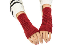 Buy this discounted product Fingerless Gloves Short Sleeve Crochet Arm Warmers Knitting Pattern Winter Gloves For Women and Girls (Red) on Amazon