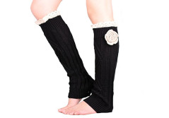 Buy this discounted product Pretty Soft Multi Color Options knit Knee High Boot Leg warmers with handmade flower accessory Lace trim (Black) on Amazon