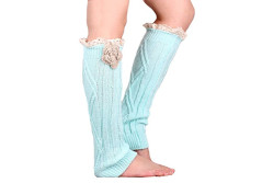 Buy this discounted product Soft Multi Color Options knit Knee High Boot Leg warmers with handmade flower Lace trim (mint color) on Amazon