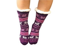 Buy this discounted product Women Slipper Socks Fleece Non Slip Sherpa grippers Winter Sleep Sock Dark Purple on Amazon