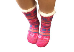 Buy this discounted product Women Slipper Socks Fleece Non Slip Sherpa grippers Winter Sleep Sock Pink on Amazon