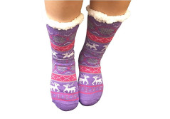 Buy this discounted product Slipper Socks Women Fleece Socks Wool Non Slip Socks Sherpa Thick Christmas Socks with grippers Warm Winter Women Lady Girls Mid Calf High Sleep Socks (Purple) on Amazon