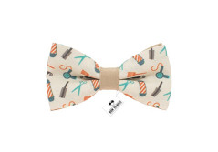 Buy this discounted product Bow tie with funny printed patterns for every day and party, bow ties suitable for children and adult (Medium, Beige Barber) on Amazon