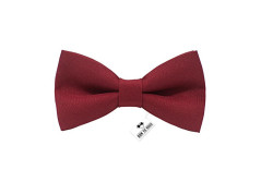 Buy this discounted product Men's pre-tied deep red solid color bow tie gabardine material clip-on kind unisex (Adult, Deep Red) on Amazon