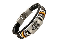 Buy this discounted product Peace Love & Happiness Handmade Leather Heart Bracelet from Zen Lovers - Unisex for Men or Women One-Size-Fits-All Silver Charm Winter Sale !! on Amazon