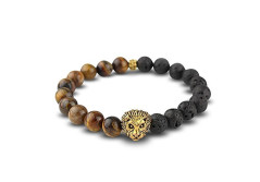 Buy this discounted product Handmade Lion Bead Bracelet Courage & Strength with Rose Gold Tone Head One Size Fits All Unisex Bangle for Men or Women Winter Sale !! on Amazon