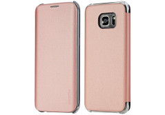 Buy this discounted product S7 Edge Case, ROCK® MOOST [Veena Series ] Slim Synthetic Leather Flip Case for Samsung Galaxy S7 Edge (Rose Gold) on Amazon