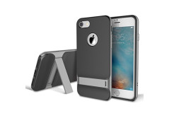 Buy this discounted product iPhone 7 Case, ROCK® MOOST [Royce Series] Dual Layer Shockproof Thin & Slim Case With Kickstand for iPhone 7 (4.7inch) [Black / Grey] on Amazon