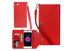 Buy this discounted product Iphone 6 6s Wallet Case Reenuo Envelope Flip Handbag Shell Women PU Leather Magnetic Folio Cover Cases with Credit Card ID Holders Wrist Strap for Apple Iphone 6/6s 4.7 inch (Red) on Amazon