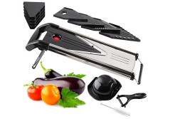 Buy this discounted product Chef Grids V-Blade Stainless Steel Mandoline Slicer | Dicing, Grating, Julienne Cutting & More | Ergonomic Handle & Foldable Feet For Sturdy Use | Bonus Peeler & Cleaning Brush on Amazon