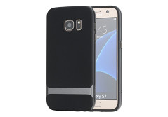 Buy this discounted product S7 Case, Galaxy S7 Case, ROCK® MOOST [Royce Series] Dual Layer Thin & Slim Shockproof Case for Samsung Galaxy S7 [Black / Iron Grey] on Amazon