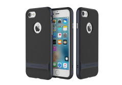 Buy this discounted product iPhone 7 Case, ROCK® MOOST [Royce Series] Dual Layer Thin & Slim Shockproof Case for iPhone 7 [Black / Navy Blue] on Amazon