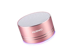 Buy this discounted product NUBWO A2 Pro Metal Bass 4.1 Bluetooth Speaker Outdoor/ Sport / Car Speakers Wireless Mini Protable Speakers with LED Light,AUX Line,Memory Card Playback Smartphones (Rose Gold) on Amazon