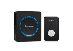 Buy this discounted product Wireless Doorbell, Jerrybox DT52 Waterproof Door Bell Chime Kit, 48 Melodies, 1000ft / 300m Range, 1 Push Button & 1 Plug-in Receivers, Black with LED Flash Light ... on Amazon