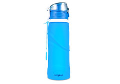 Buy this discounted product Water Bottle, JerryBox Collapsible Sports Bottle Medical Grade Leak Proof Silicone Outdoor Bottle, for Sport, Outdoor, Travel, Camping, Picnic(26 oz,750ML) on Amazon