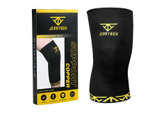 Buy this discounted product Jerrybox Knee Sleeve Copper Compression  With Infused Fit Best Knee Support Brace For Men And Women Single (L) on Amazon