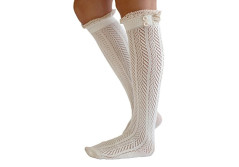 Buy this discounted product Lace Boot Socks Knee High Socks Ruffled Lace Trim & Buttons Leg Warmers for Boots (White) on Amazon
