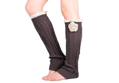 Buy this discounted product Pretty Soft Multi Color Options knit Knee High Boot Leg warmers with handmade flower accessory Lace trim (dark gray) on Amazon