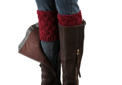 Buy this discounted product Desen Women's Crochet Leg Warmers Winter Cable Knit Boot Cuffs (Burgundy) on Amazon