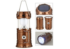 Buy this discounted product GAXmi Solar Camping Lantern Rechargeable Emergency Light Portable Collapsible LED Flashlight (Bronze) on Amazon