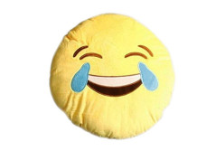 """Buy this discounted product Emoji Pillow """"Cry Laugh"""" Crying Laughing Face by Wreckens Toys Large (13 x 13 x 4 inches) Yellow Round Stuffed Plush Throw Cushion on Amazon"""