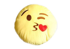 """Buy this discounted product Wreckens Toys 32cm Emoji Pillow """"Kiss"""" Face Large Yellow Round Soft & Plush, Never-Flat Throw Cushion on Amazon"""